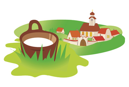 Landscape in Central Europe with old village and ewer with  milk. Vector illustration available for download. Illustration