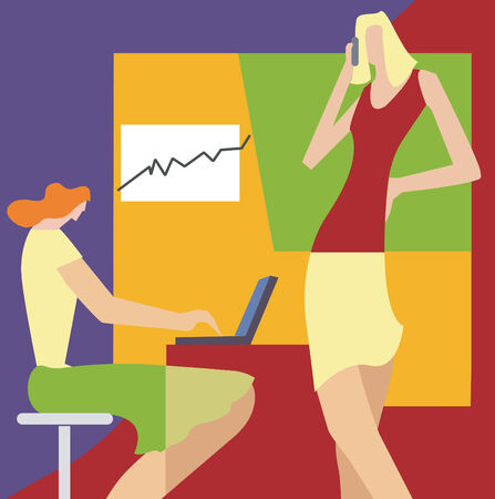 Two  women at the office with computer and mobile Vector