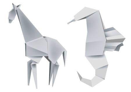 Illustration of folded paper models giraffe and seahorse. Vector illustration. Stock Vector - 4655854