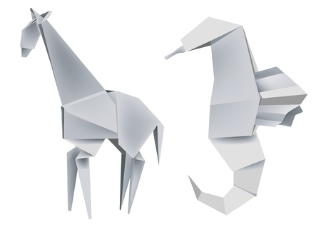 free vector art: Illustration of folded paper models giraffe and seahorse. Vector illustration. Illustration