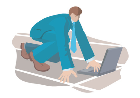 Businessman with the laptop on the starting post. Vector