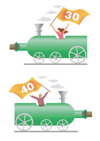 adult birthday party: Honoured person ridden on the wine bottle locomotive. Vector illustration.