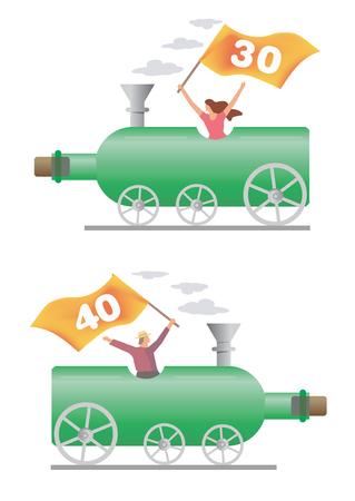 Honoured person ridden on the wine bottle locomotive. Vector illustration. Vector