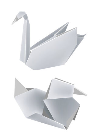 Illustration of folded paper models, swan and duck. Vector illustration. Vectores