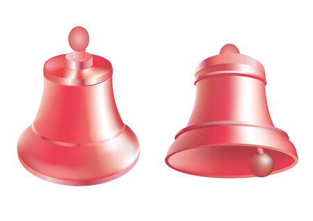 clang: Red Christmas vector bells on a white background