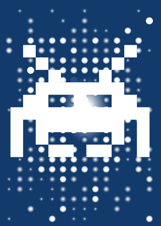 Space invader on the blue background. Vector illustration. Vector