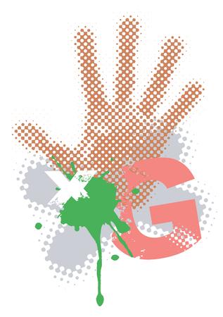 spillage: Resumen de antecedentes grunge con handprint. Ilustraci�n vectorial.