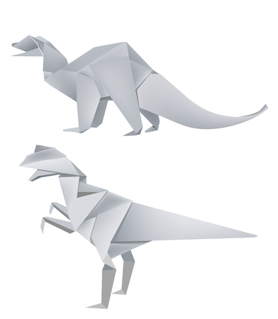 Illustration of folded paper models two dinosaurus. Vector illustration.