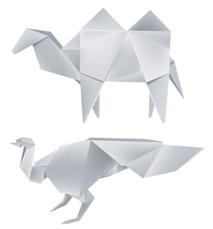 Illustration of folded paper models the  peacock and the camel . Vector illustration. Vector