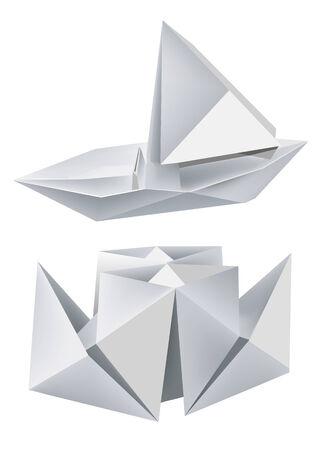 Illustration of folded paper models steamboat and sailboat. Vector illustration. Vector