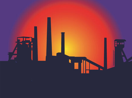 Sunset above  the old factory. Vector  illustration. Vector