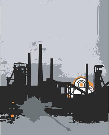 Grunge silhouette, industy background. Vector illustration.