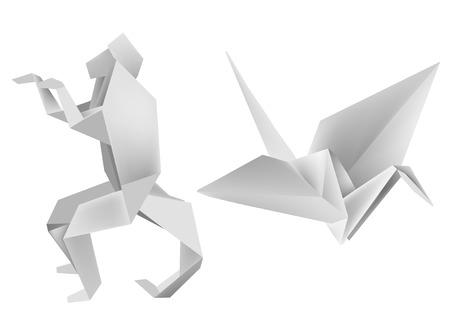 papier pli�: Illustration des mod�les de papier pli�, le singe et la grue. Vector illustration. Illustration