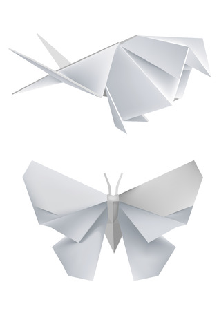 Illustration of folded paper models, swallow and butterfly. Vector illustration. Vectores