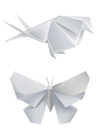 papier pli�: Illustration des mod�les de papier pli�, d'avaler et de papillon. Vector illustration. Illustration