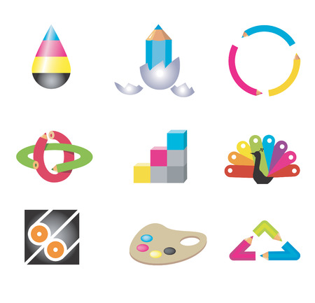 Icons of creativity and design, Isolated on white background. Vector illustration. Vector