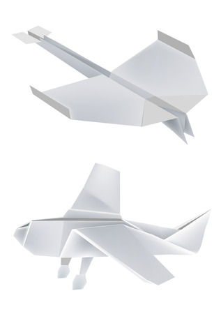 Illustration of folded paper models, aeroplanes on white background, Vector illustration.