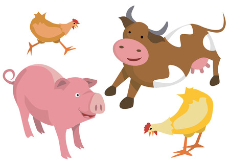 Illustrations of farm animals on the white background.