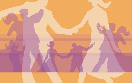 tanzen cartoon: Silhouetten von Tanzpaaren an der Kugel. Vector illustration. Illustration