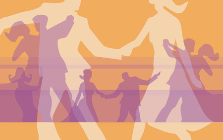 Silhouettes of  dancing couples at the ball. Vector illustration. Vectores