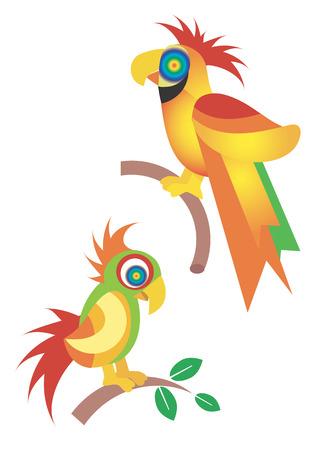 loros verdes: Dos p�jaros de colores ex�ticos. Ilustraci�n vectorial.
