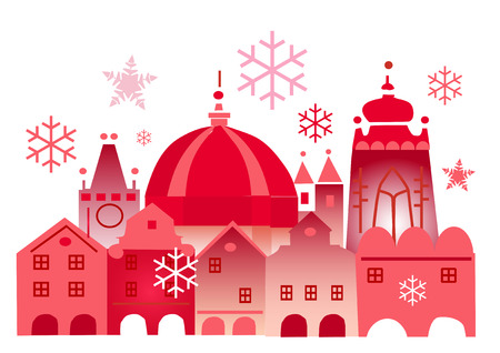 Vector illustration of lovely historical winter town. Vector