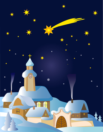 Christmas winter Landscape in Central Europe with Bethlehem star.Vector illustration. Vector