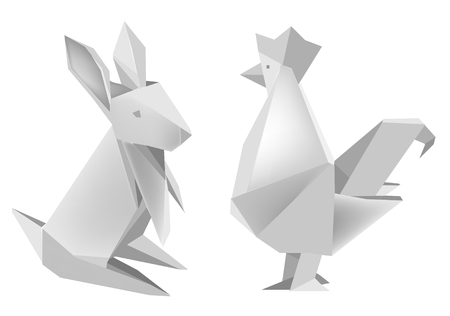 Illustration of folded paper models, rabbit and rooster on white background, Vector illustration. Vectores