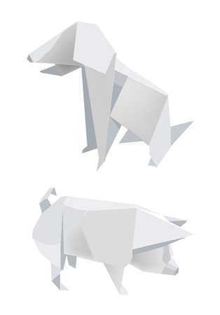 Illustration of folded paper models, pig and dog on white background, Vector illustration. Stock Vector - 4700976