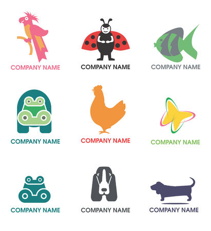 fisch: Several logos  and symbol sof  animals for use on a company logo. Vector illustration.