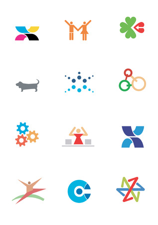 logo vector: Several logos  and symbol sof  animals for use on a company logo. Vector illustration.