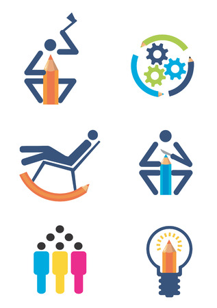 creativ: Icons of creativity and design, Isolated on white background. Vector illustration available for download