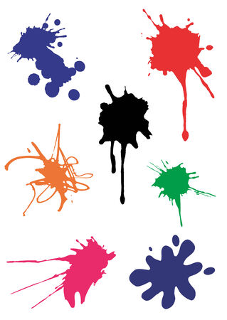 Vector spots and splash various colors isolated on white background. Vector illustration available for download.