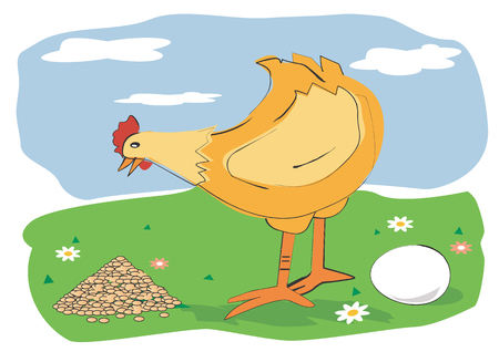 pullet: Hen with a egg an a corn on a meadow. Vector illustration available for download Illustration