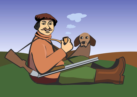 Vector illustration of a siting hunter with a pipe, gun and a dog Vector