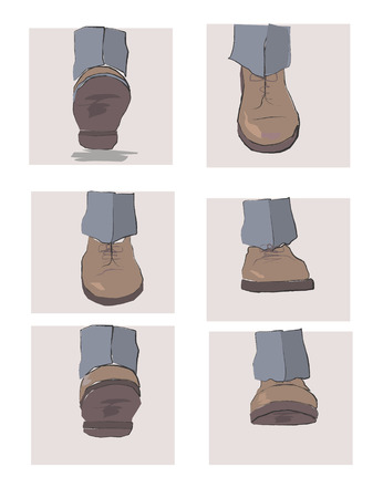 starting a business: Steps of legs, phasing of motion Illustration