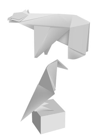 papier pli�: Illustration des mod�les de papier pli� le pingouin et l'ours de mer. Vector illustration. Illustration