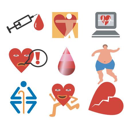obesidad: Iconos de la salud, fitness, cardiolog�a. Aislado en fondo blanco. Ilustraci�n del vector.
