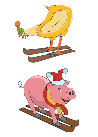 pullet: Pig and pullet on the skies. Vector illustration .