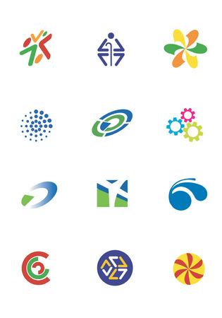 logo vector: Several logos for use on a company logo. Vector illustration.