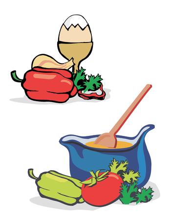 gastronomic: Vegetables, egg and kettle for preparing of meal. Vector illustration