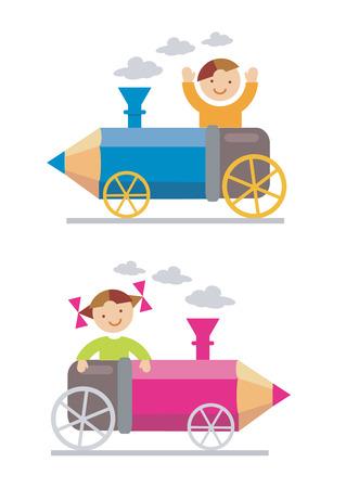 Niño y niña montado en la locomotora-lápiz. Vector illustration Foto de archivo - 5351595