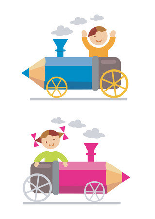 Small boy and girl ridden on the crayon-locomotive. Vector illustration