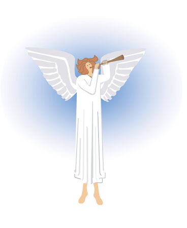 trumpet vector: Angel angel blowing the trumpet in heaven, Vector illustration.