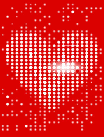 Heart on the red display. Vector illustration. Stock Vector - 5351599