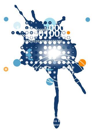 spillage: Ilustraci�n vectorial con un fondo t�cnica de equipo de grunge.