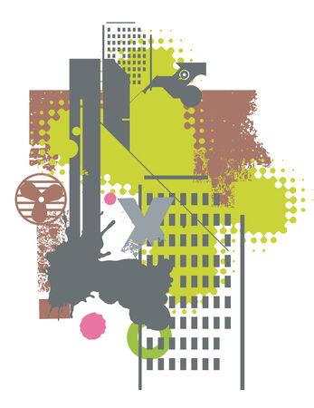 Illustration of a grunge city  background. Vector illustration. Stock Vector - 5351603