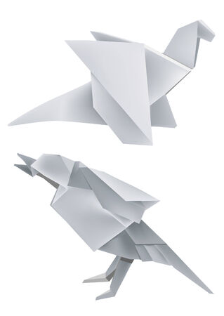 grappling: Illustration of folded paper models dragon and bird.