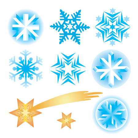 Seven original vector snowflakes and Bethlehem star.