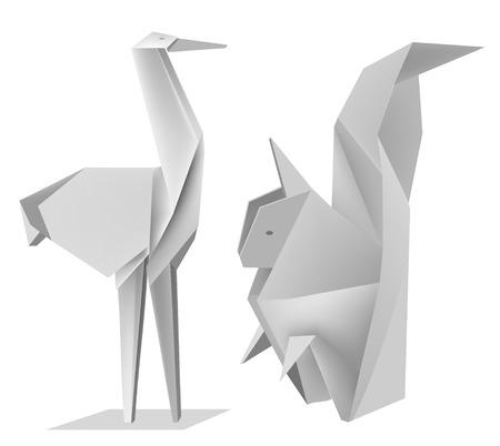 papier pli�: Illustration des �cureuils de mod�les de papier pli� et stork.